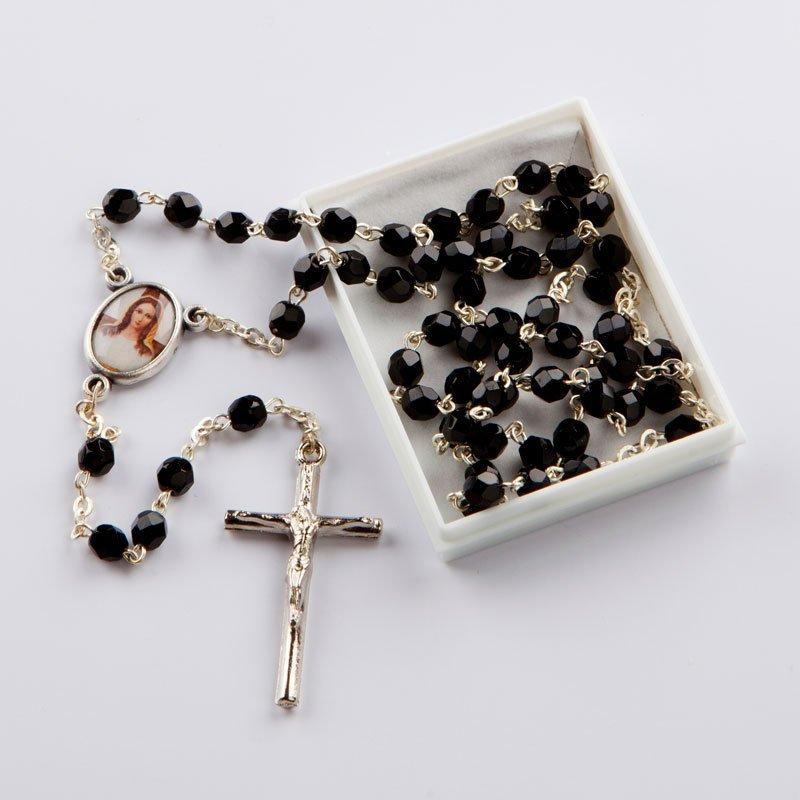 chapelet-verre-taillé-octogonal noir-5mm-chaîne argentée