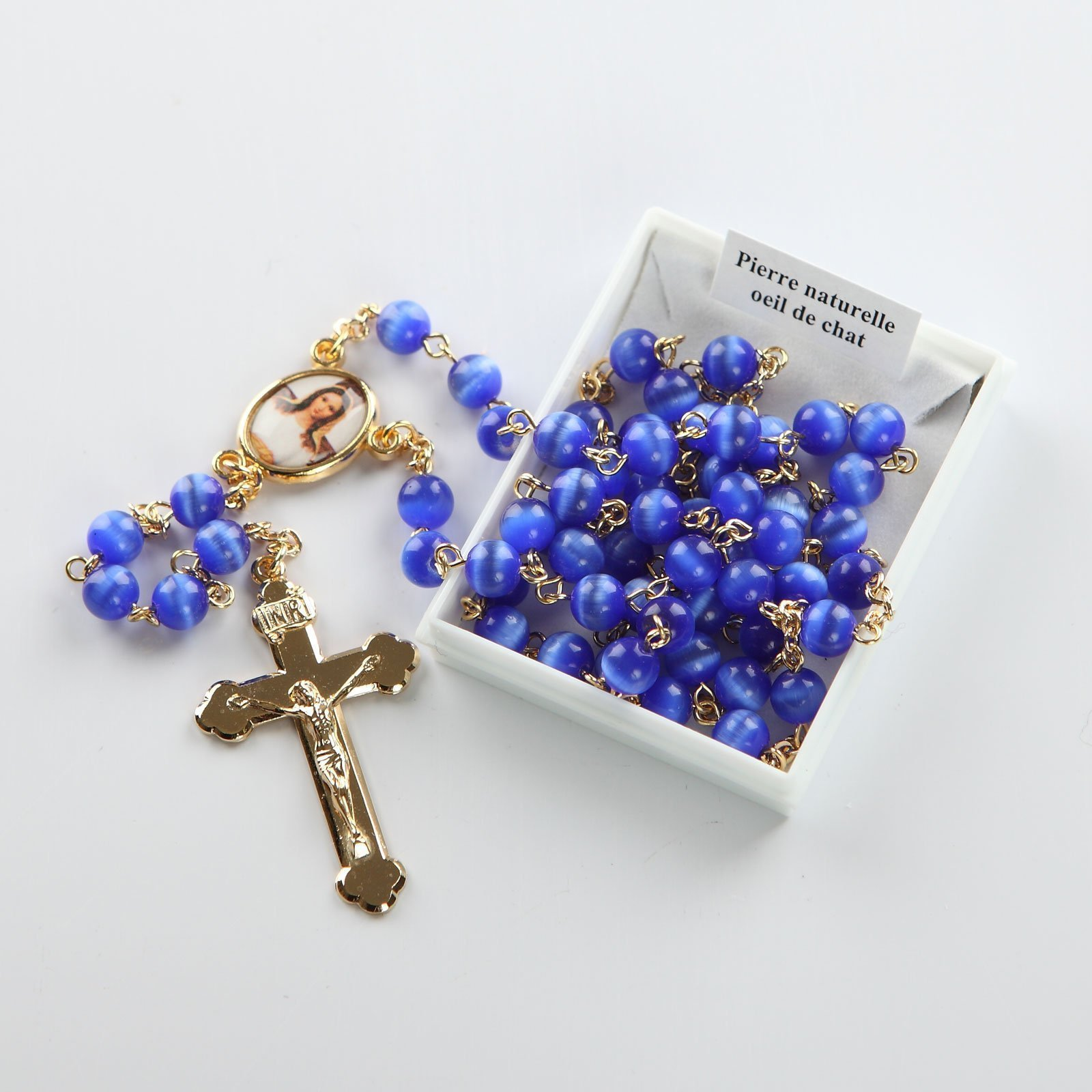 rosary-royal blue-gold-coloured