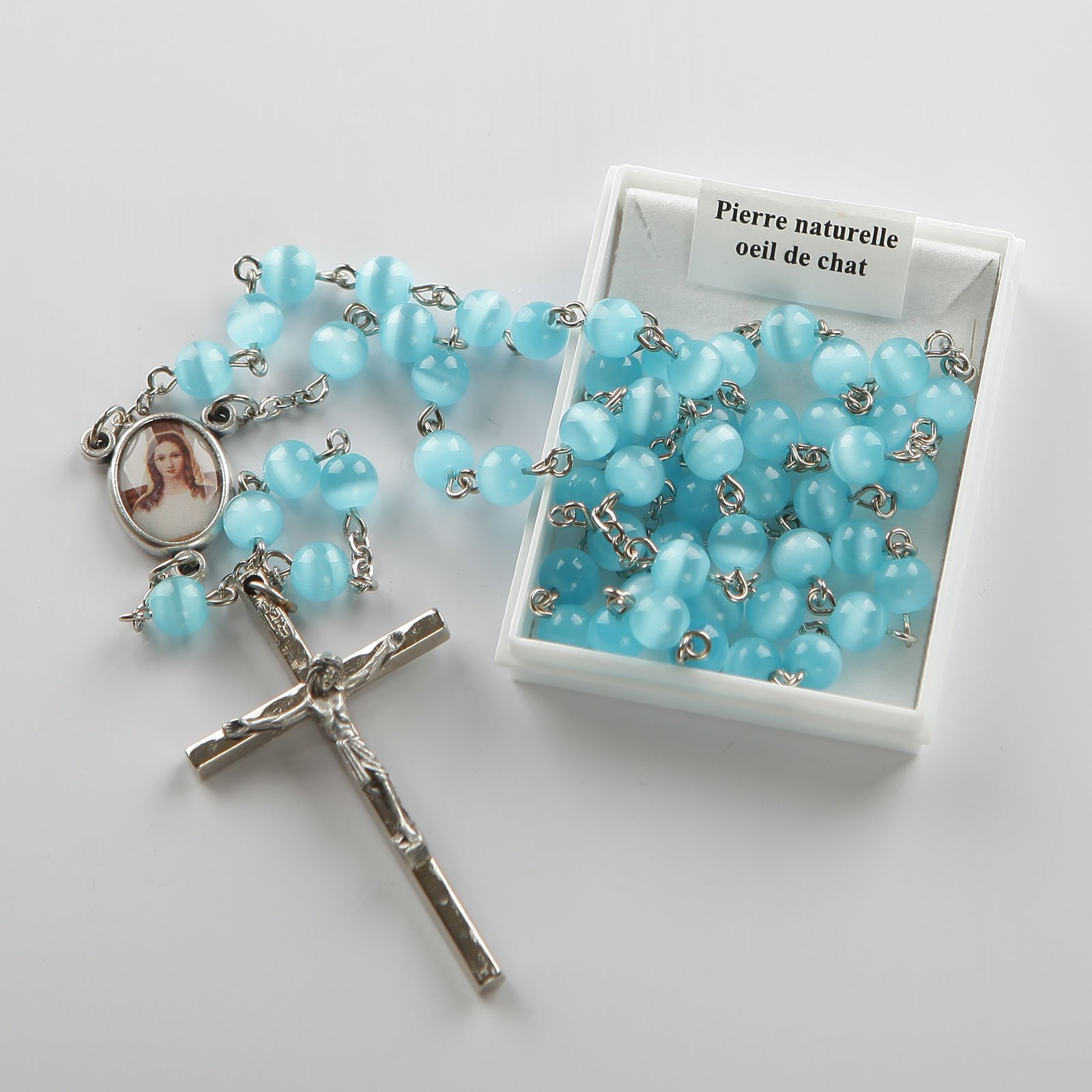 rosary-sky blue-silver-coloured