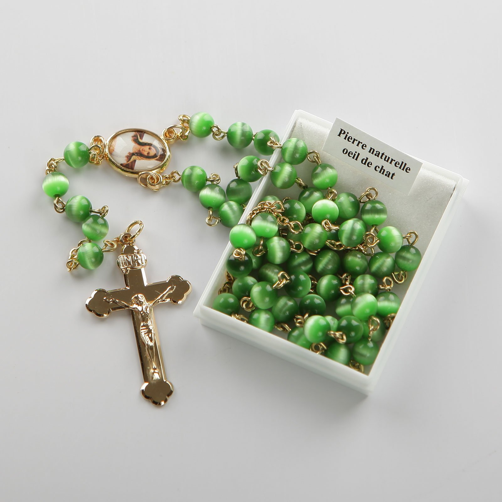 rosary-dark green-gold-coloured
