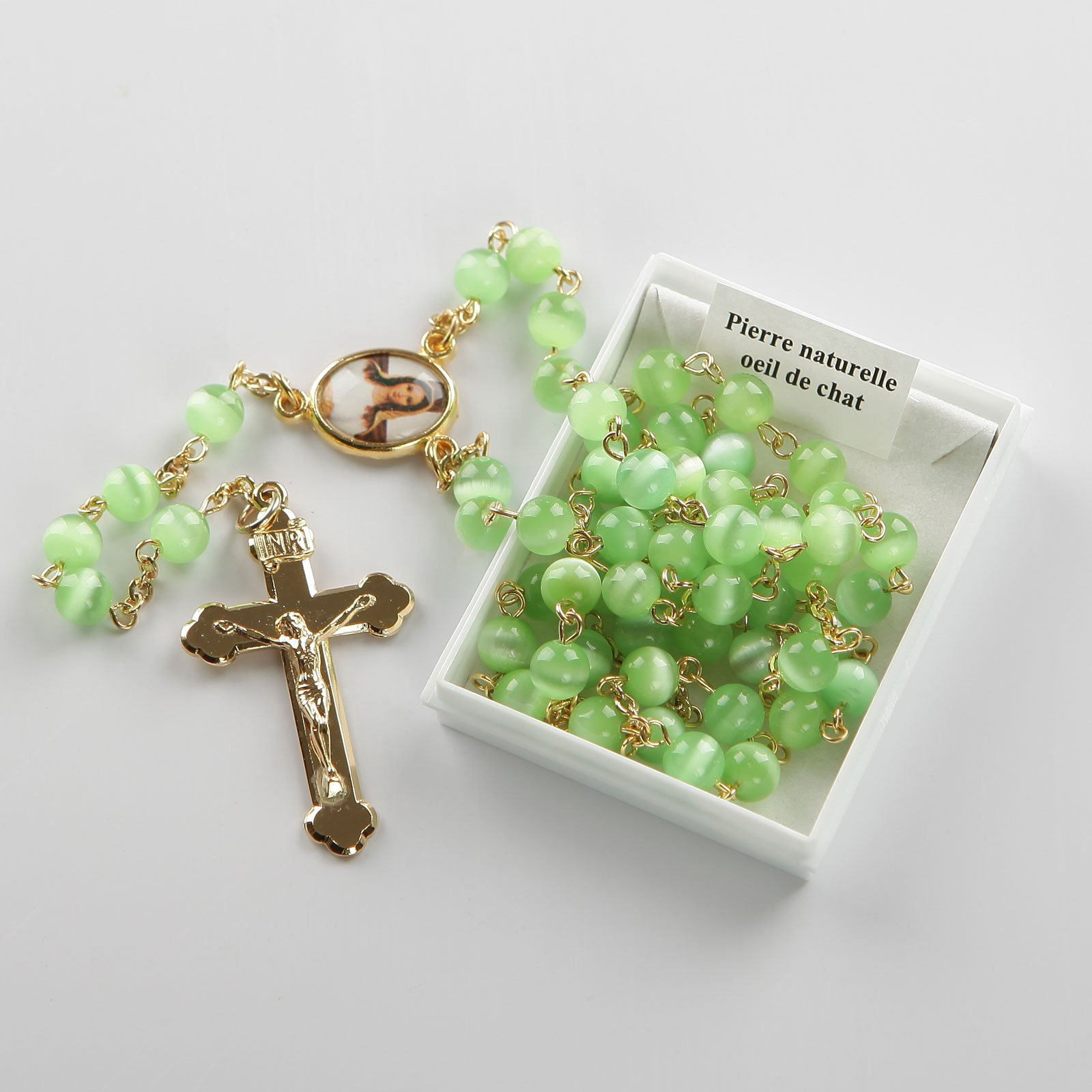 rosary-light green-gold-coloured