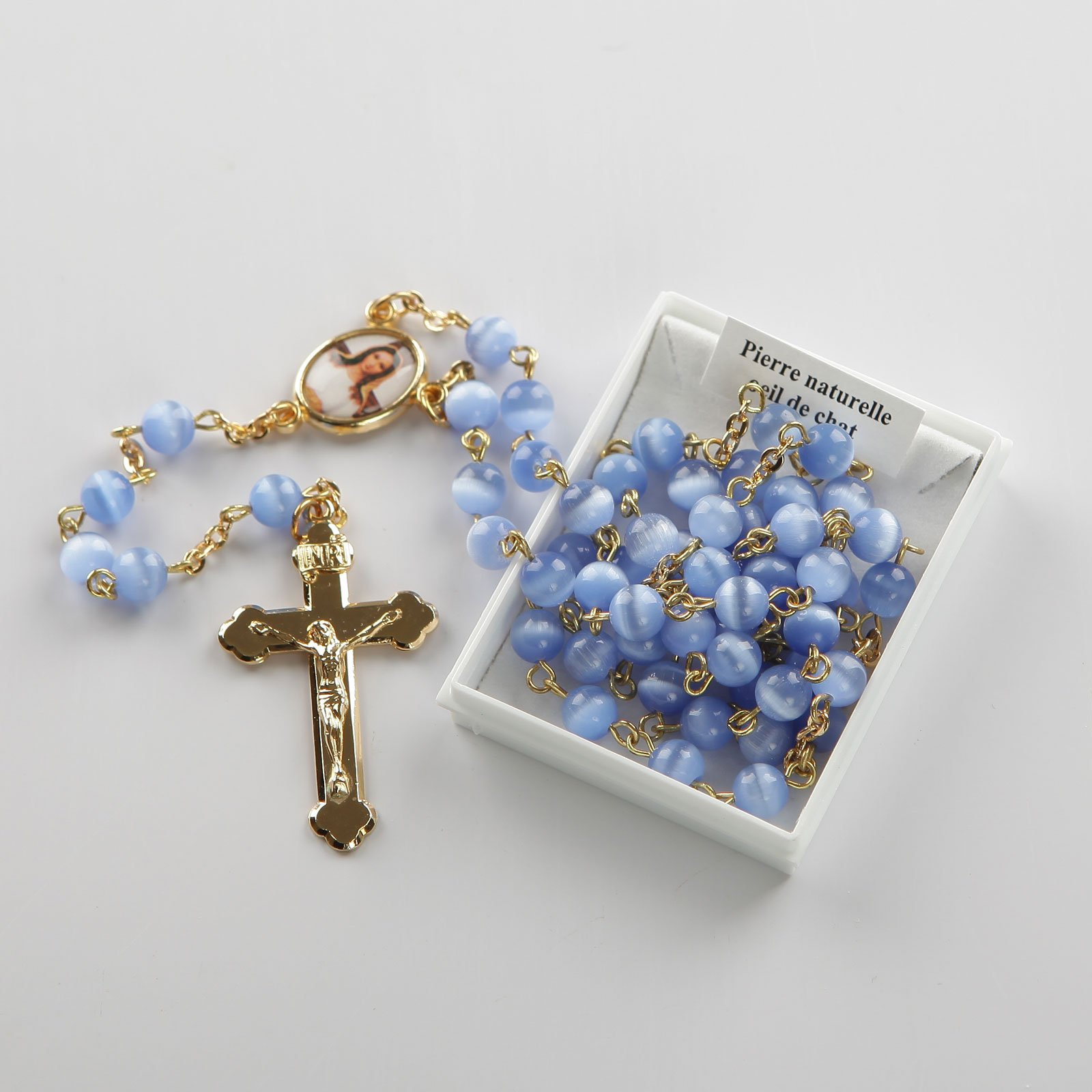 rosary-powder blue-gold-coloured