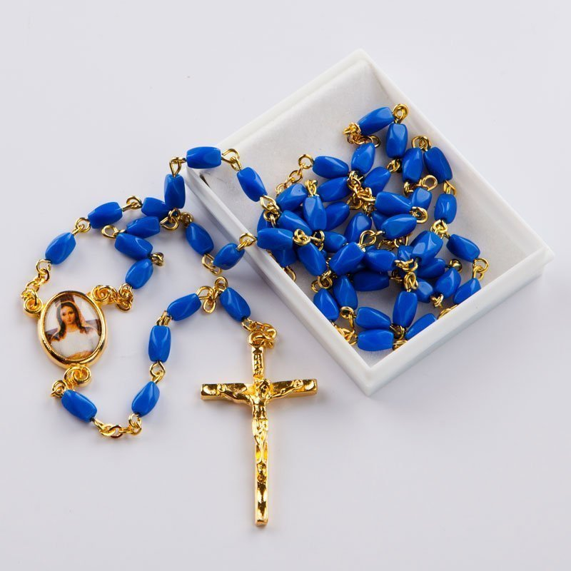 rosary with oval royal blue bevelled beads