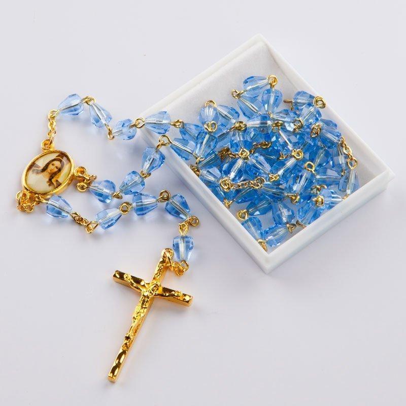 chapelet avec perles taillées bleu-saphir