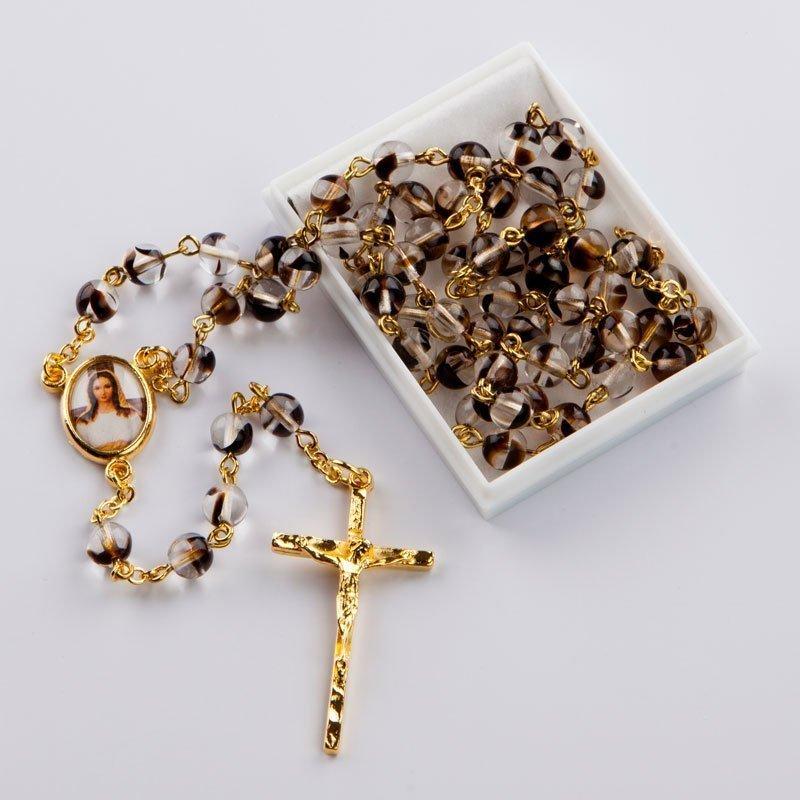 chapelet avec perles rondes tachetées noires