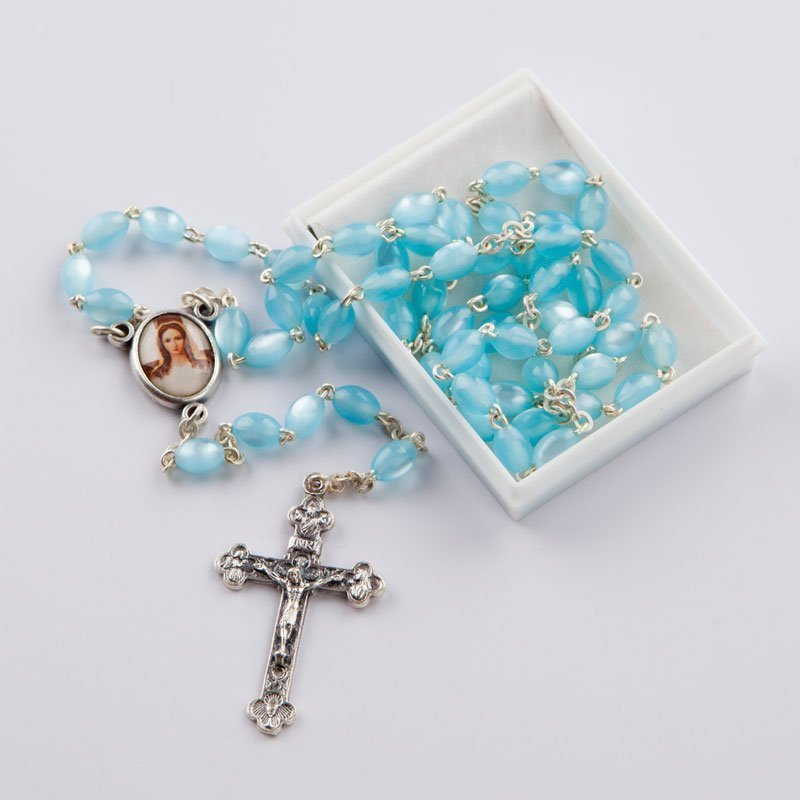 rosary with oval mother-of-pearl blue beads