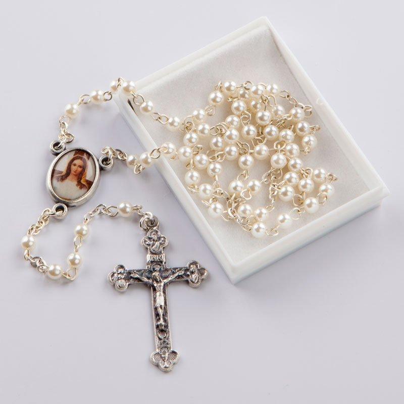 chapelet avec perles rondes blanches-chaîne-argentée