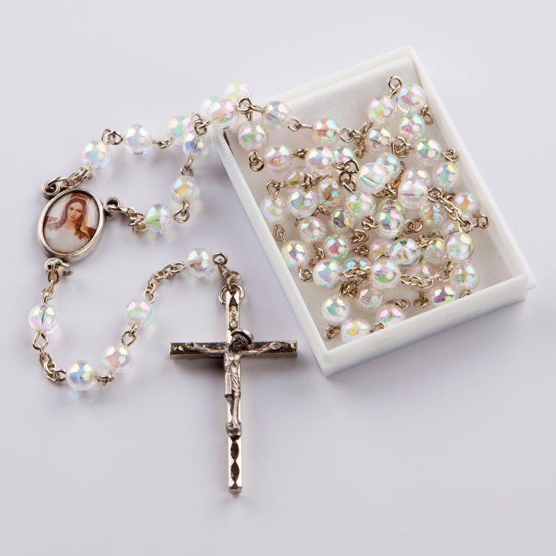 chapelet avec perles rondes cristal AB-chaîne-argentée