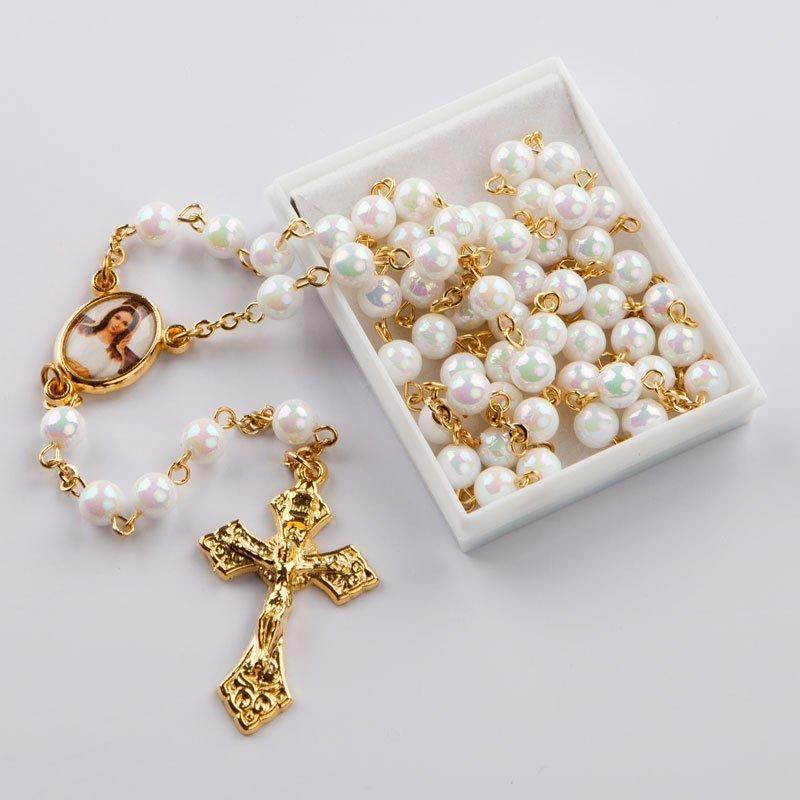 chapelet avec perles rondes blanc AB-chaîne-dorée