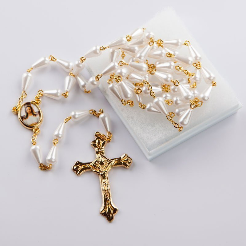 rosary with white droplet-shaped beads- imitation pearl
