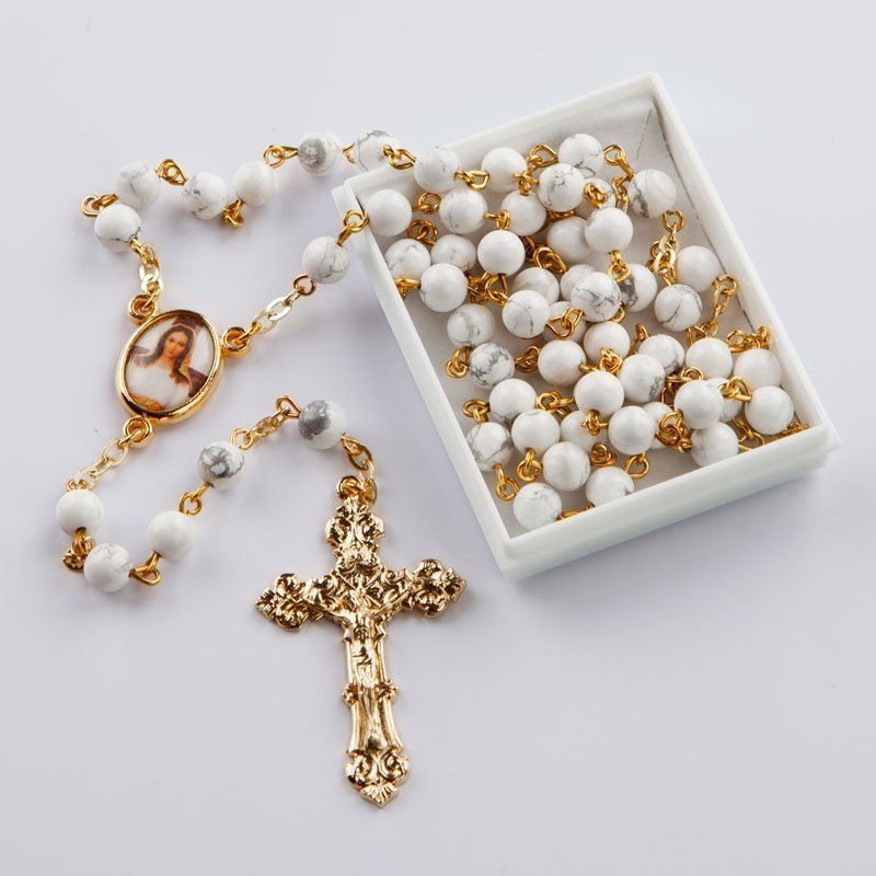 natural gemstone rosary-round white howlite-gold-coloured chain