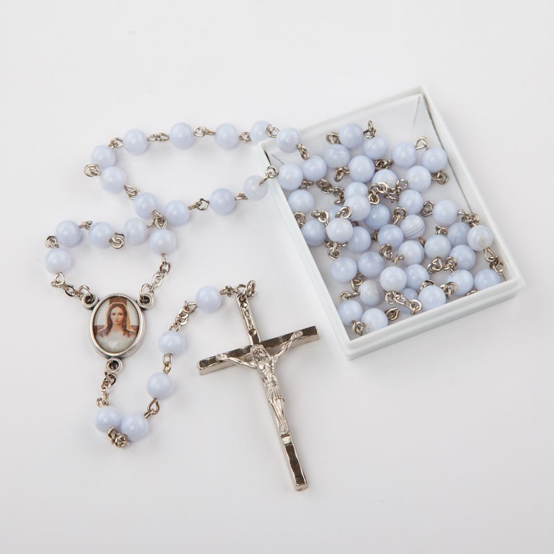 natural gemstone rosary-round blue agate-silver-coloured chain