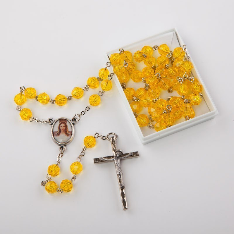 rosary with octagonal plastic beads-various colours-6 mm