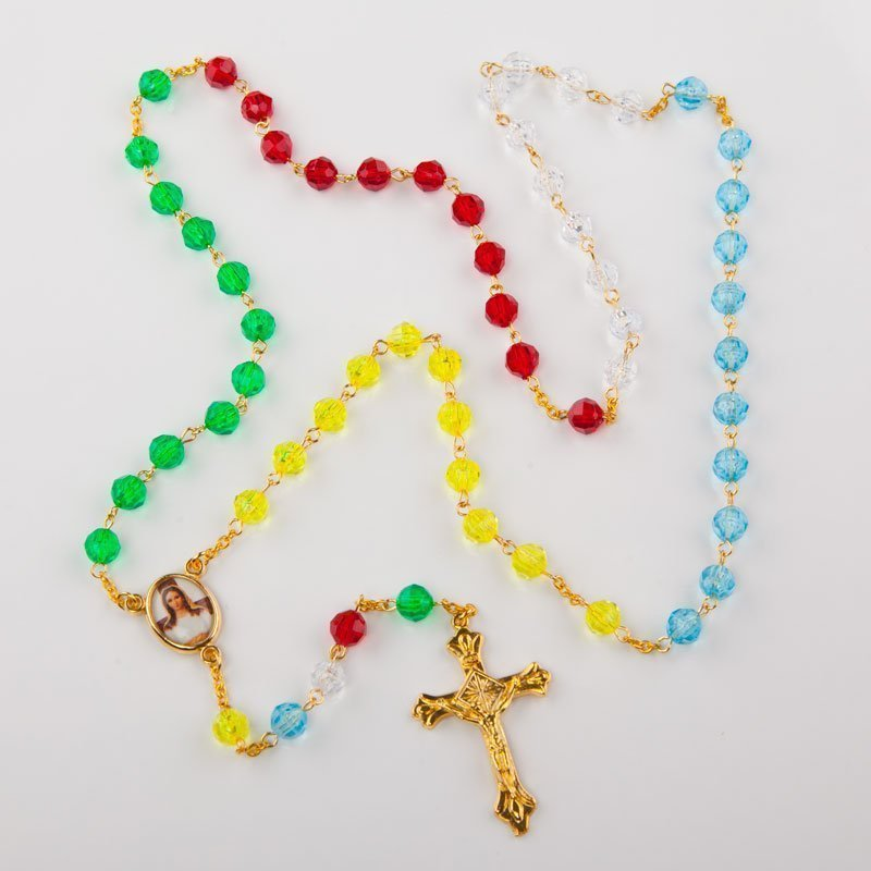 missionary rosary with plastic octagonal beads-gold-coloured chain