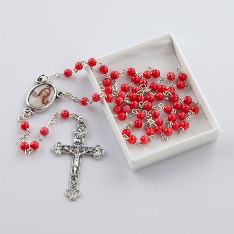 rosary with round coral red beads-4 mm