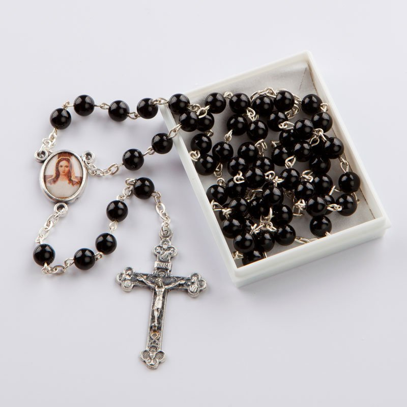 rosary with round coral black beads-6 mm