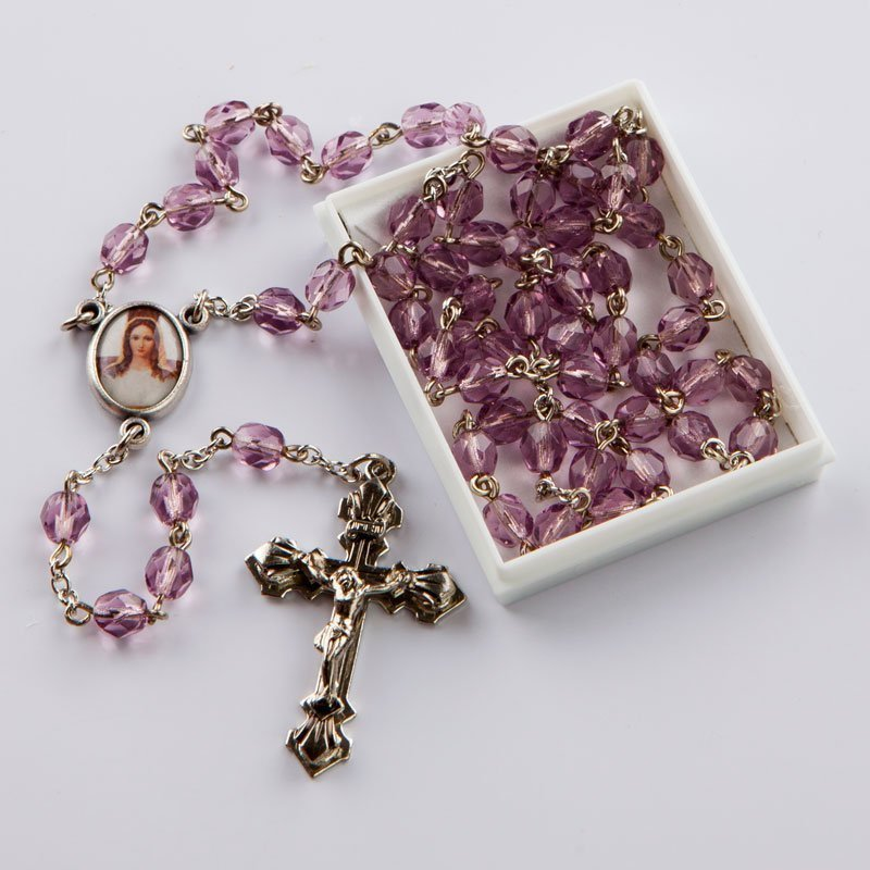 February birthstone rosary-silver-coloured chain