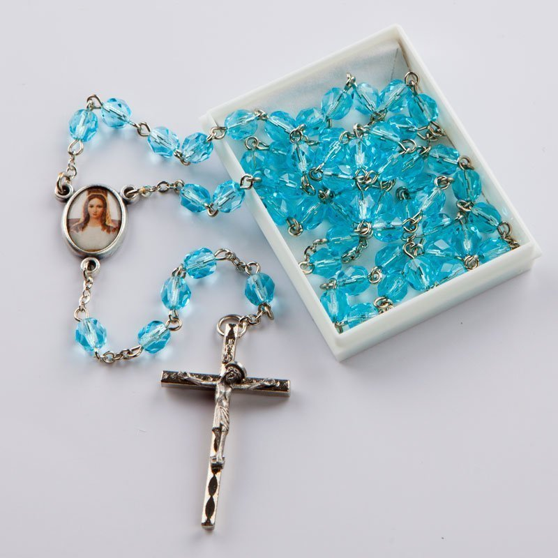March birthstone rosary-silver-coloured chain