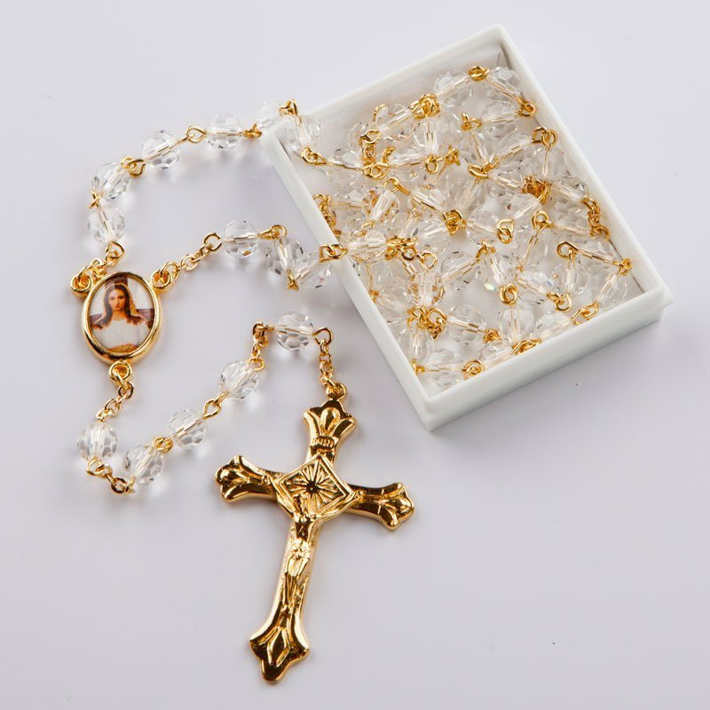 April birthstone rosary-gold-coloured chain