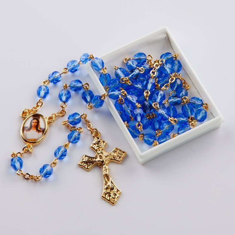 September birthstone rosary-gold-coloured chain