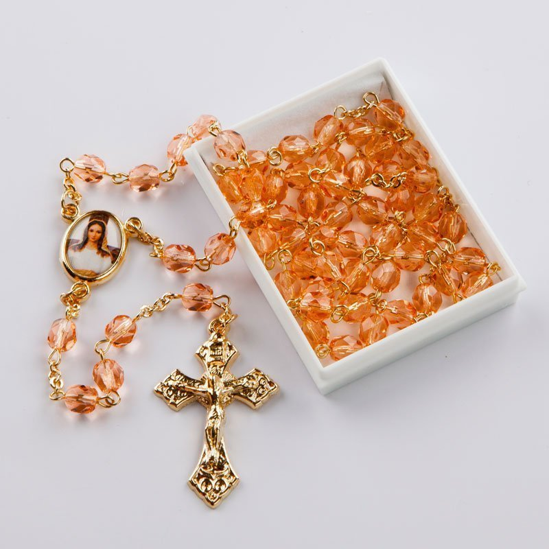October birthstone rosary-gold-coloured chain