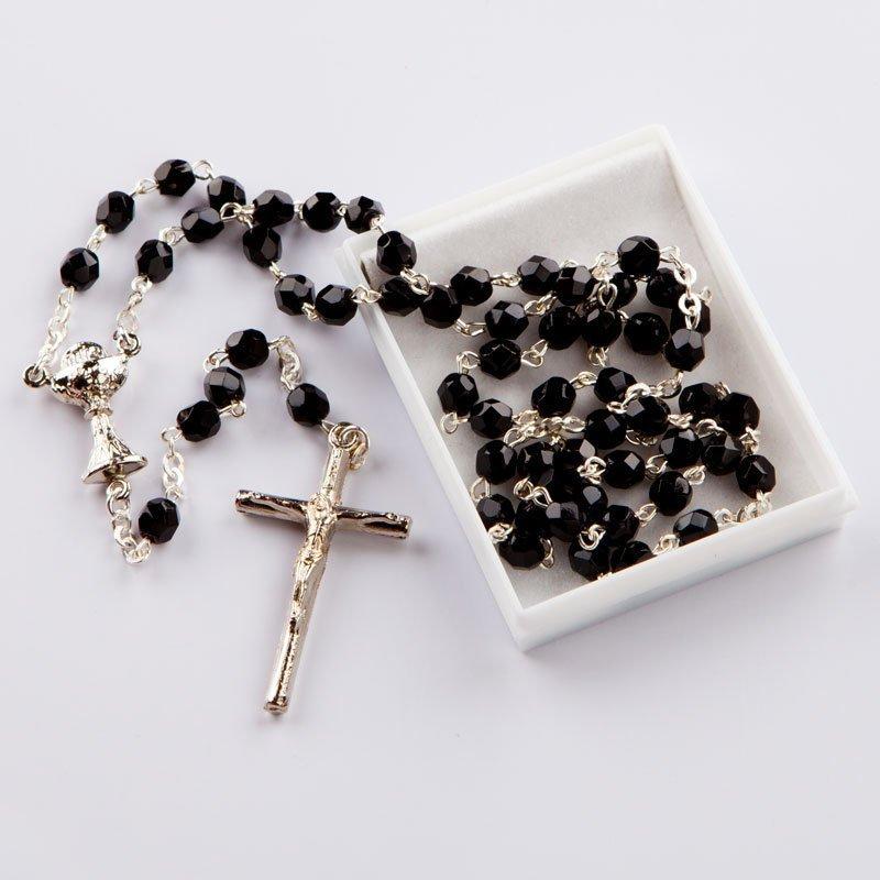 chapelet avec perles octogonales noires-chaîne argentée