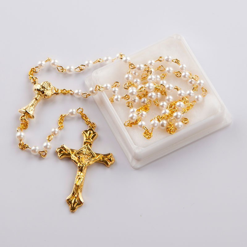 rosary with round white imitation pearl beads-gold-coloured chain