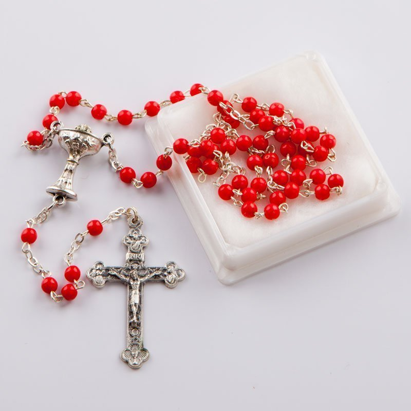 rosary with round coral red beads-silver-coloured chain-First Communion