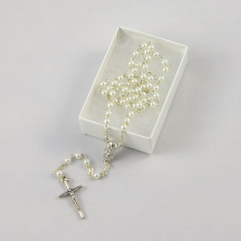 baby rosary with white imitation pearl beads-silver-coloured chain
