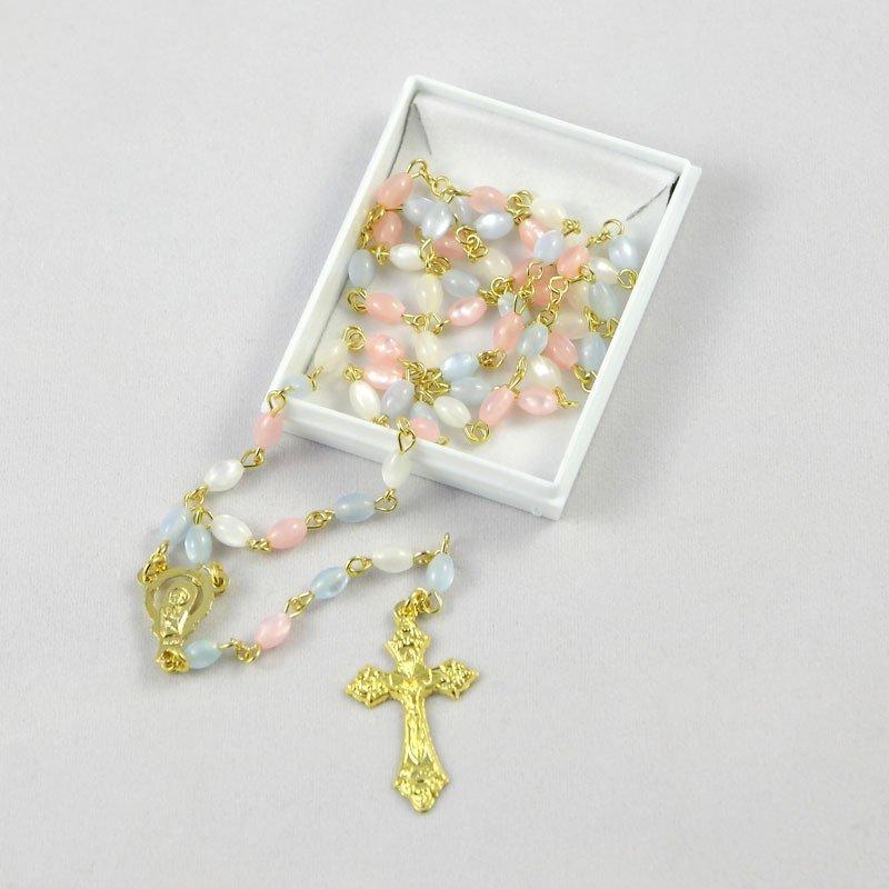 chapelet pour bébé avec perles tricolores-chaîne dorée