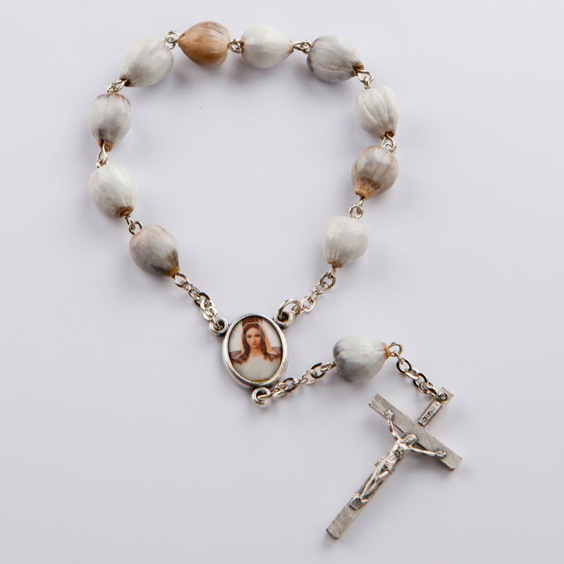 single-decade rosary with job's tears beads-silver-coloured chain