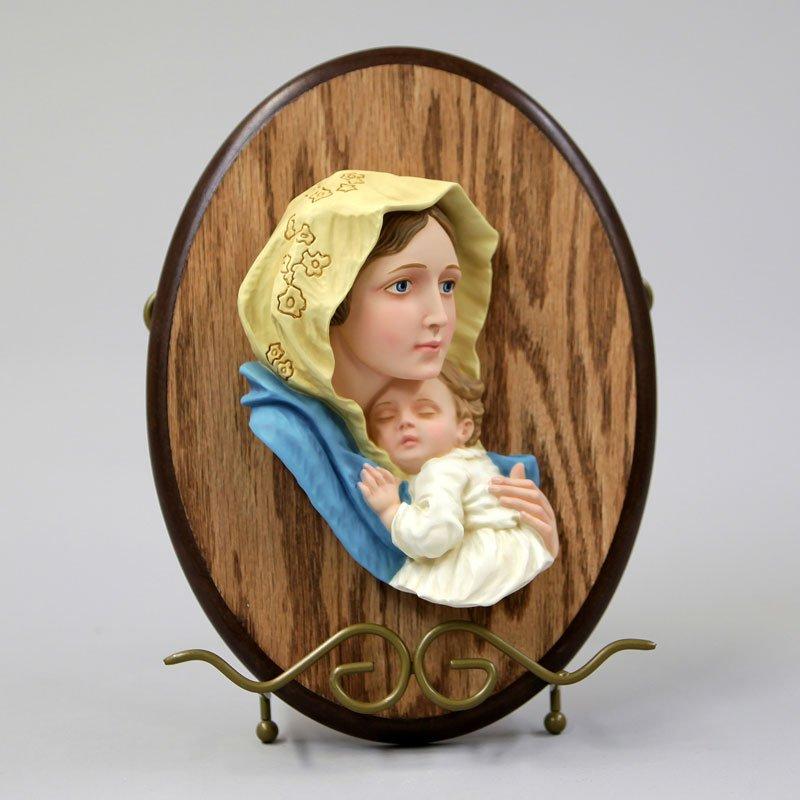 Vierge des pauvres couleur sur bois