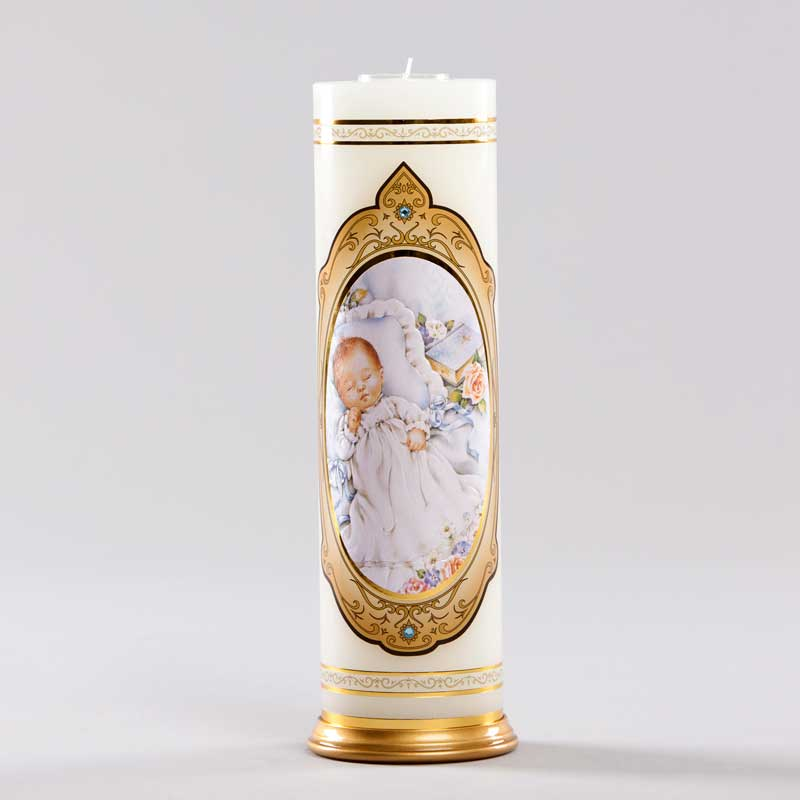 royal candle-baby baptism boy-blue
