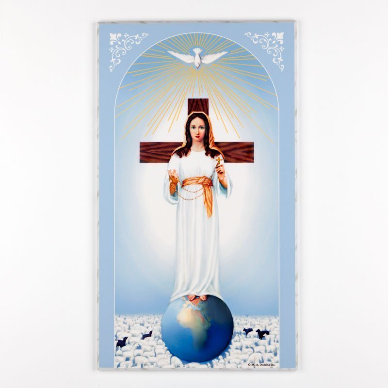 laminated plaque-lady and rosary