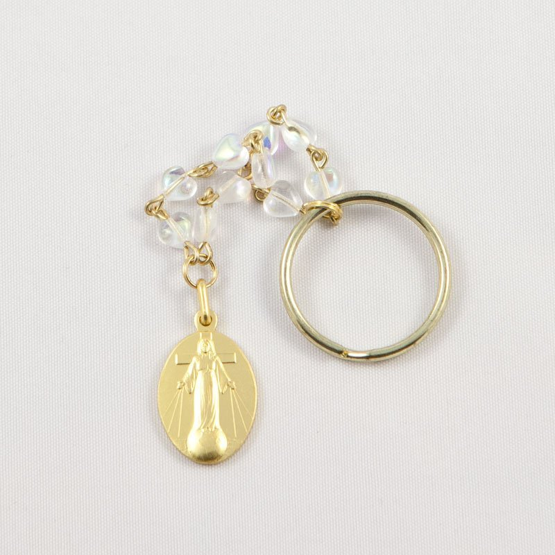 single-decade rosary key chain with gold-coloured lady's medal-front