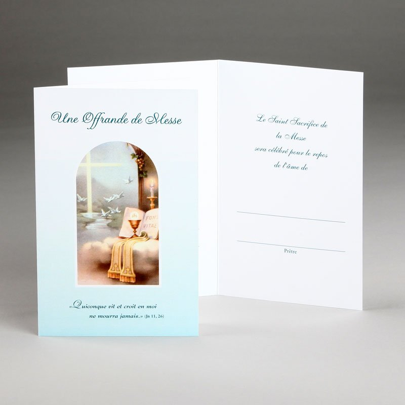 carte sympathies avec offrande de messe-vie éternelle