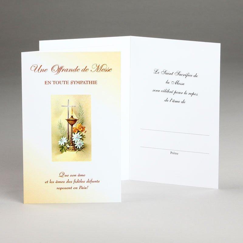 carte sympathies avec offrande de messe-croix lampe et fleurs