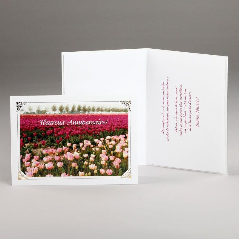 carte anniversaire-jardin de tulipes