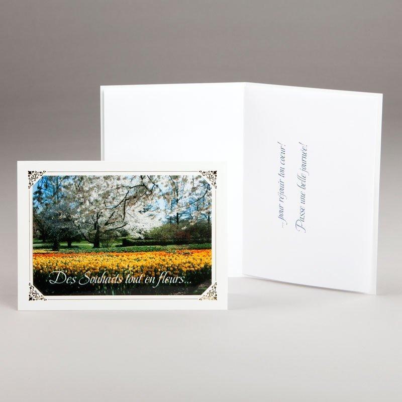 carte anniversaire-des souhaits tout en fleurs
