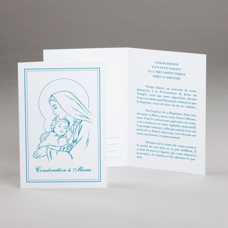 carte baptême-consécration d'un bébé à marie