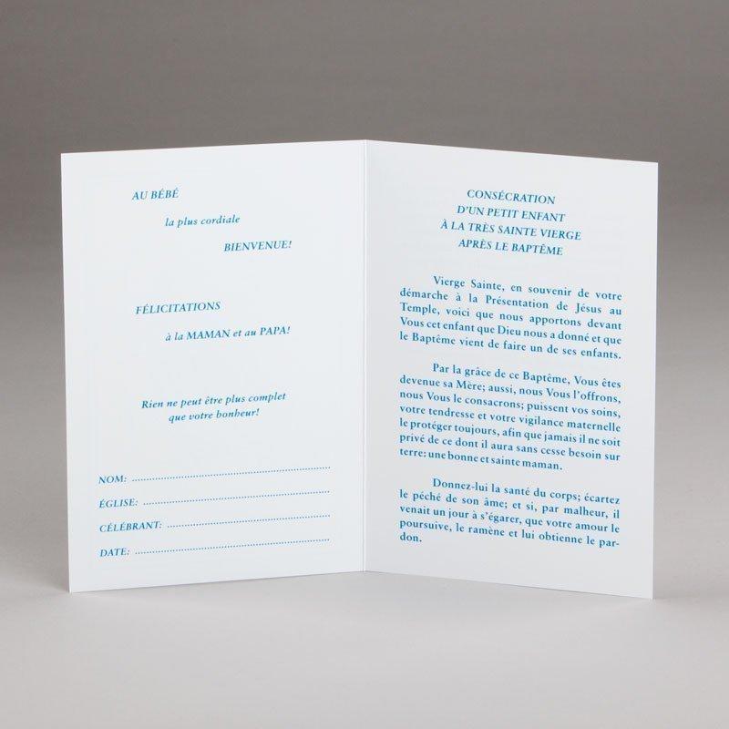 carte baptême-consécration d'un bébé à marie-intérieur
