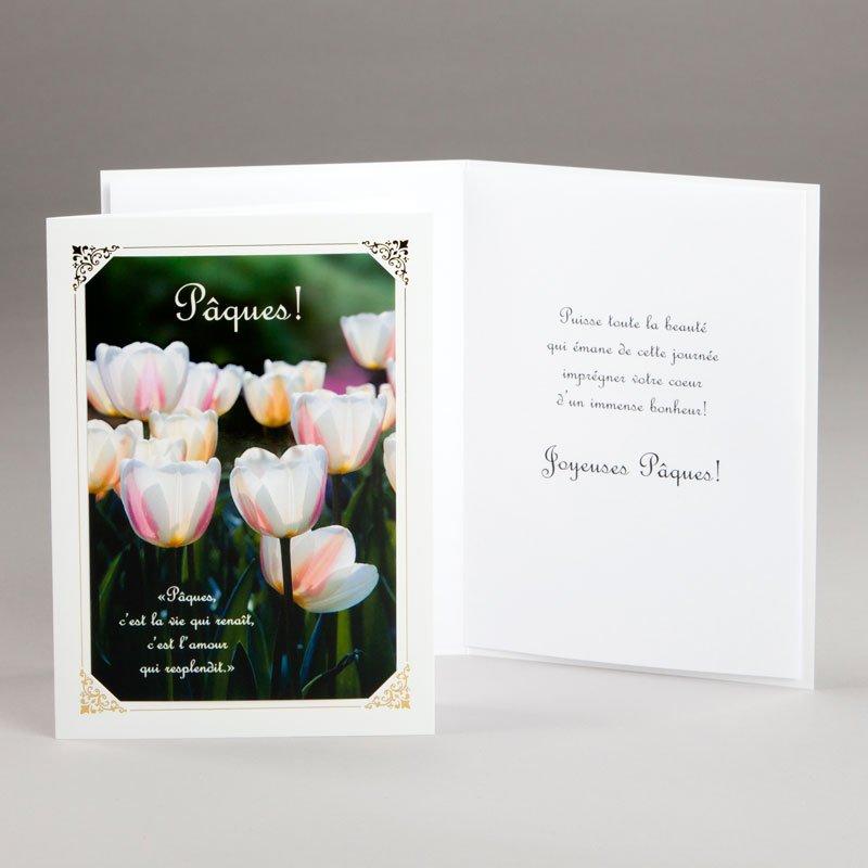 carte de pâques-tulipes de lumière