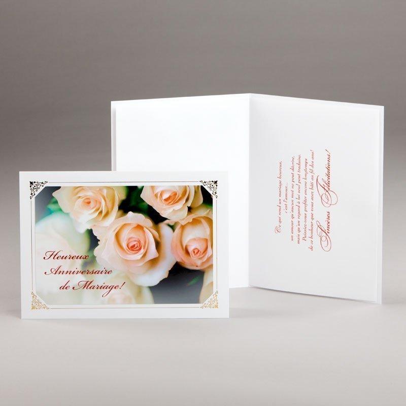 carte jubilé mariage-heureux anniversaire-roses