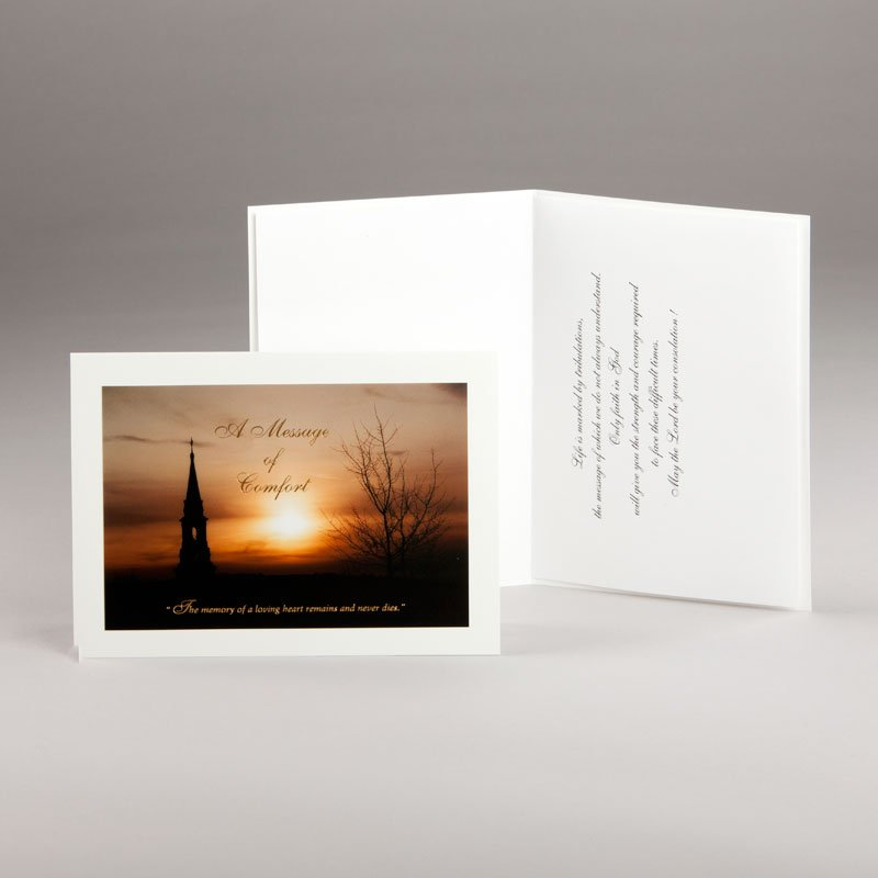 church steeple at dusk sympathy card
