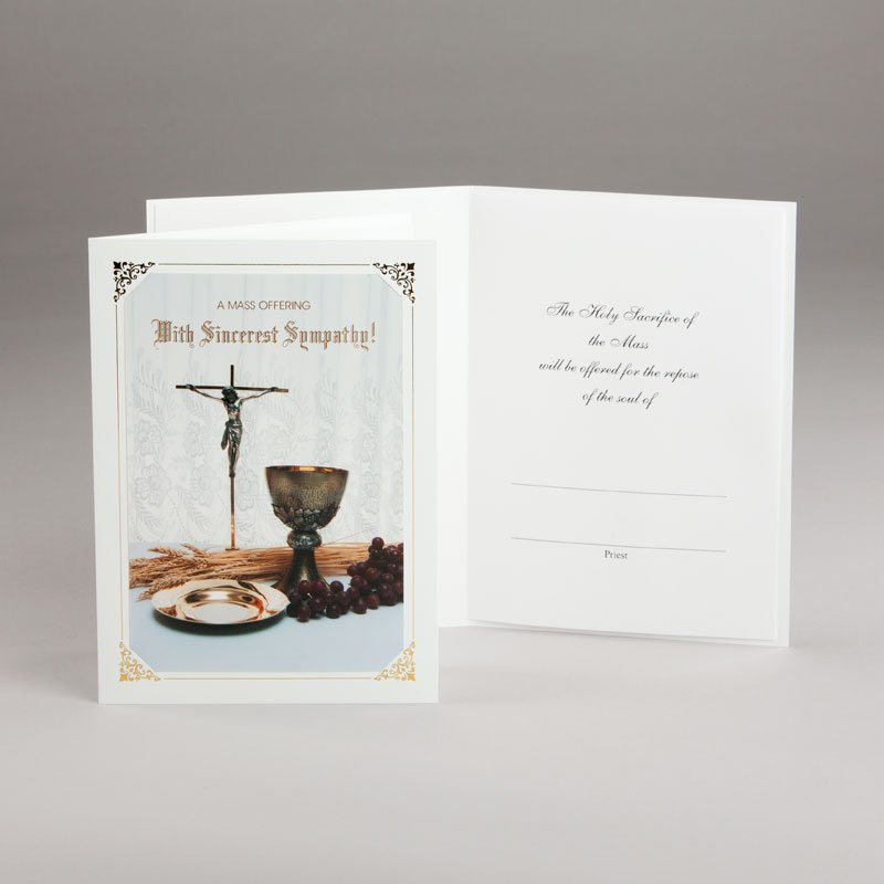 mass offering sympathy card-chalice and host