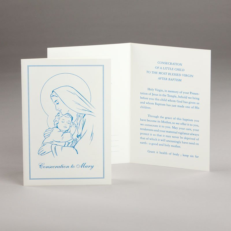 baptism card-consecration of baby to mary