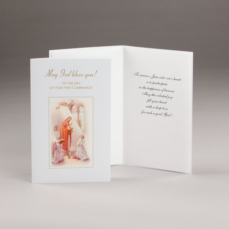 card for holy communion-girls-may god bless you