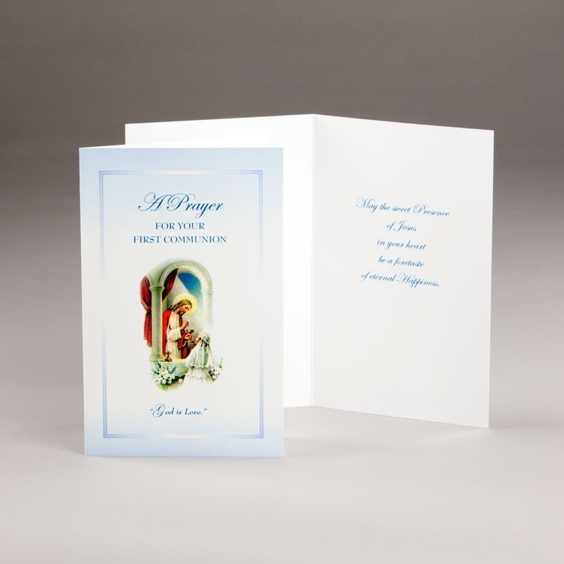 holy communion card-girls-god is love