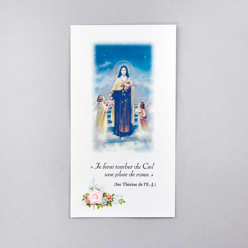 image sainte thérèse de l'enfant-jésus - pluie de roses - avec rose rose