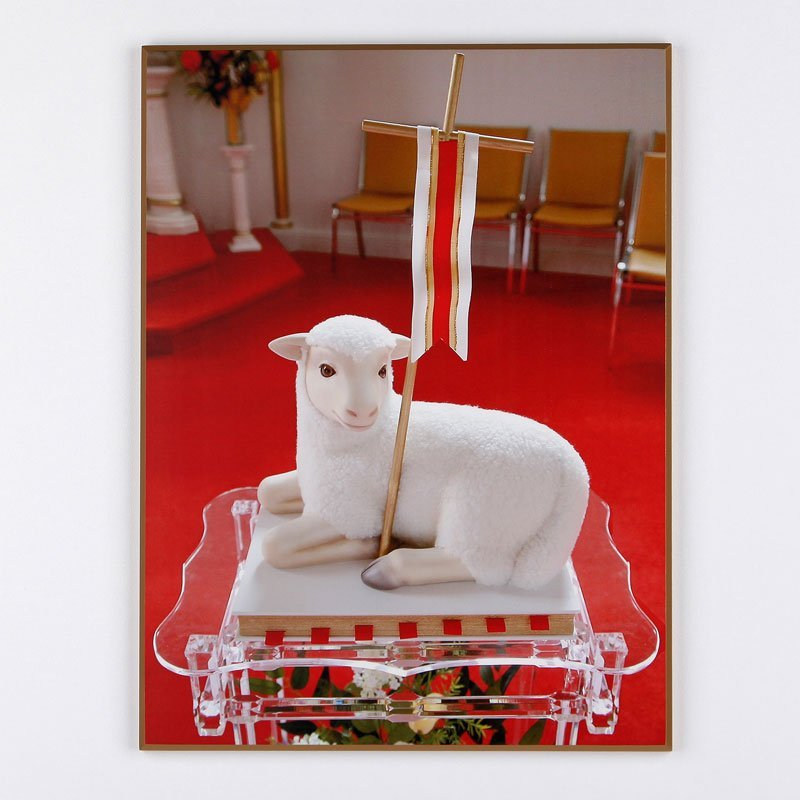laminated plaque - lamb, church of john symbol